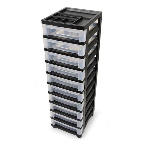 IRIS Rolling Drawer Cart with 10 Clear Drawers and Organizer Top