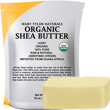 Organic Shea Butter 1 lb (16 Oz) Raw Unrefined Ivory Grade A. Amazing Skin Nourishment, Great For DIY Body Butters Lip Balms Lotions Acne Eczema & Stretch Marks By Mary Tyler Naturals