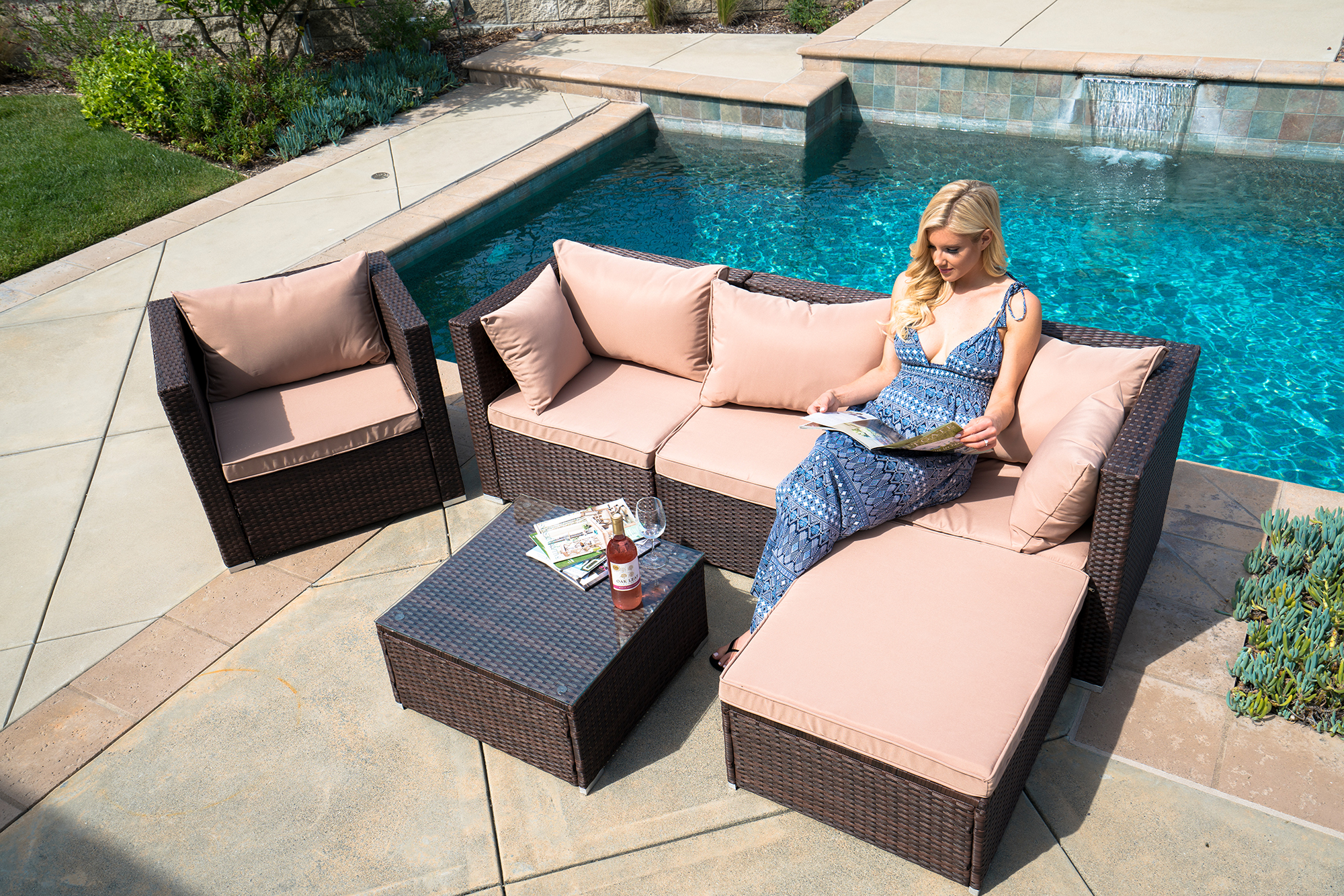 Belleze 6-PC Outdoor Patio Furniture Wicker Rattan Sofa Table Cushion Water Resistant Set,... by Belleze