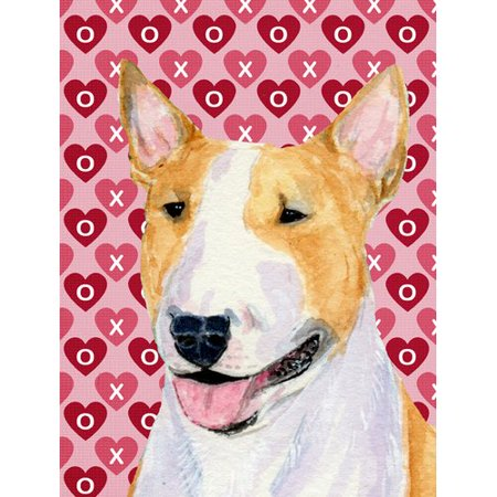 Caroline's Treasures Bull Terrier Hearts Love and Valentine's Day Portrait 2-Sided Garden Flag