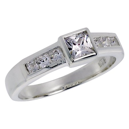 Sterling Silver Cubic Zirconia Princess Cut Stones Bezel Set Center, size 6