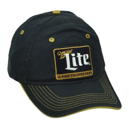 6b00f0548 Miller Lite A Fine Pilsner Beer Black Hat Cap Relaxed Wash Curved Bill  Snapback - Walmart.com