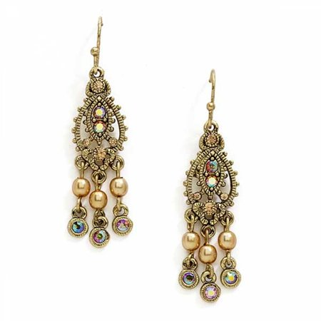 1928 Jewelry Brass Tone Mini Chandelier Earrings