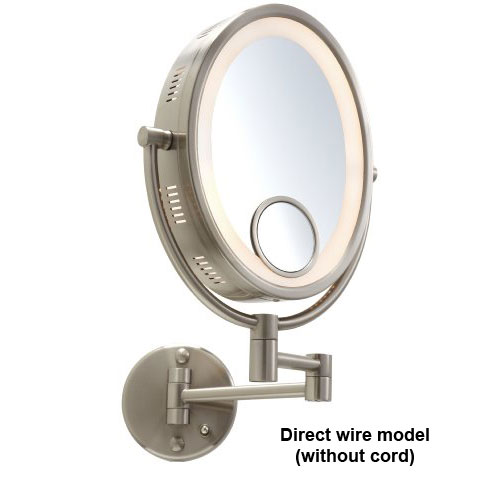 """Jerdon HL9515N 10"""" Oval Nickel Finish Halo Lighted Wall Mount Mirror (HardWired Model)"""