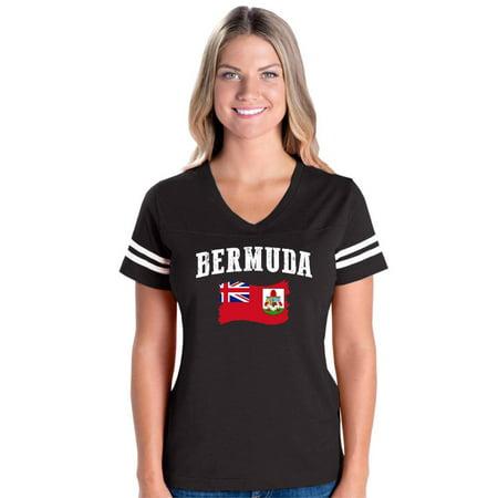 Bermuda Flag Women's Football V-Neck Fine Jersey Tee
