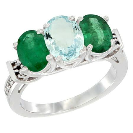 14K White Gold Natural Aquamarine & Emerald Sides Ring 3-Stone Oval Diamond Accent, size (Natural Aquamarine Emerald)