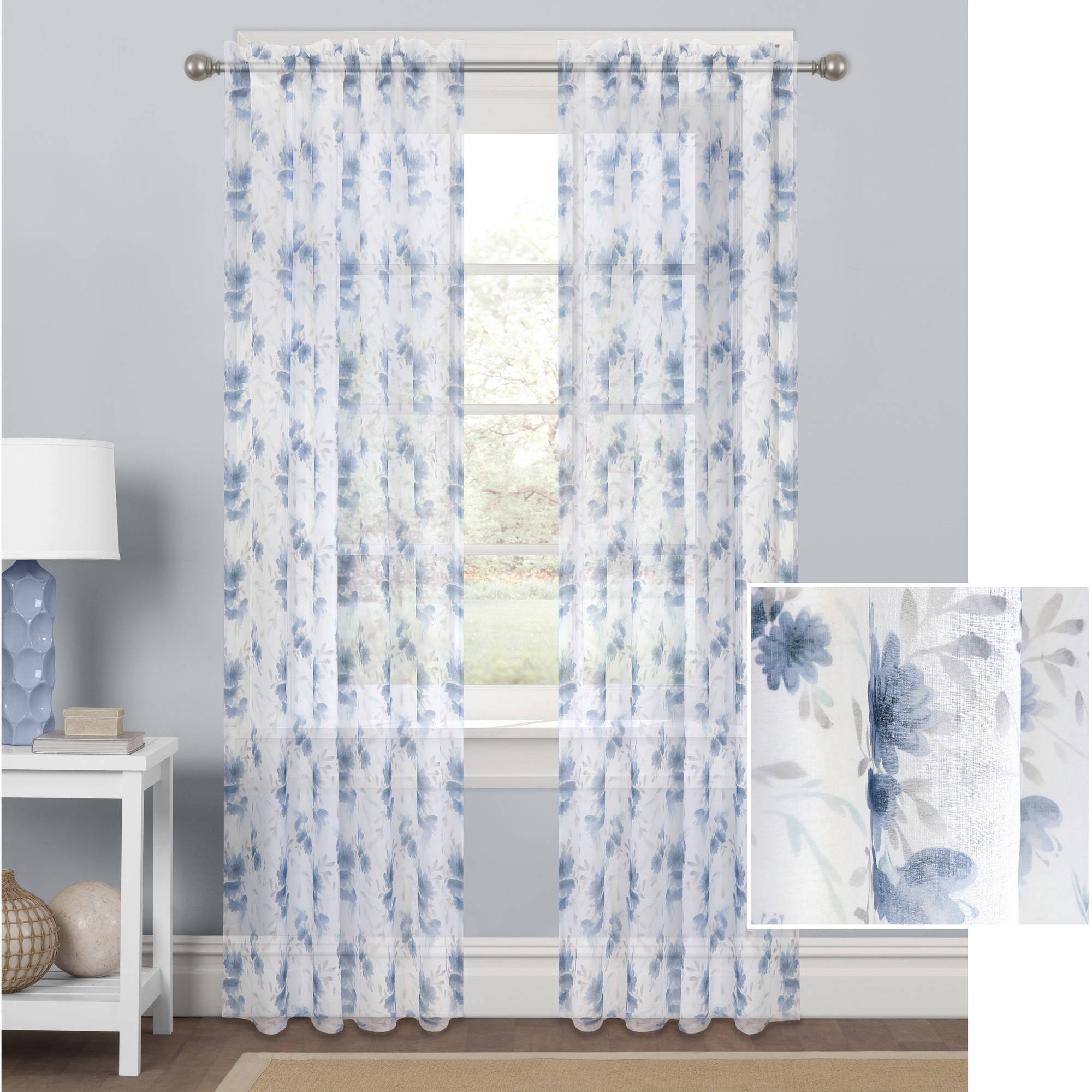 Better Homes and Gardens Watercolor Mums Sheer Curtain Panel by Colordrift LLC