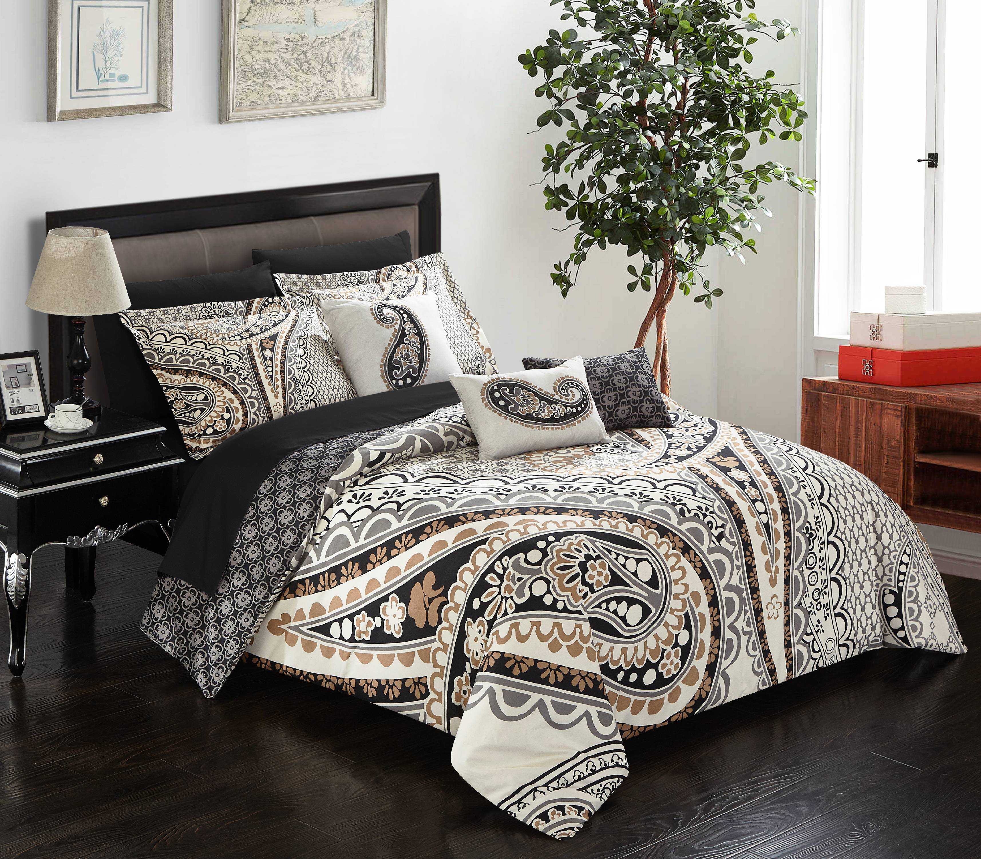 Kentucky Horse Print Blue with Brown Reversible Comforter Set and Sheet Set