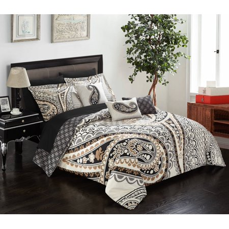 Chic Home Giles 10 Piece Comforter Complete Bed in a Bag Set Microfiber Large Scale Paisley Print with Contemporary Geometric Pattern Bedding with Sheet Sets Decorative Pillows Shams, Queen Beige