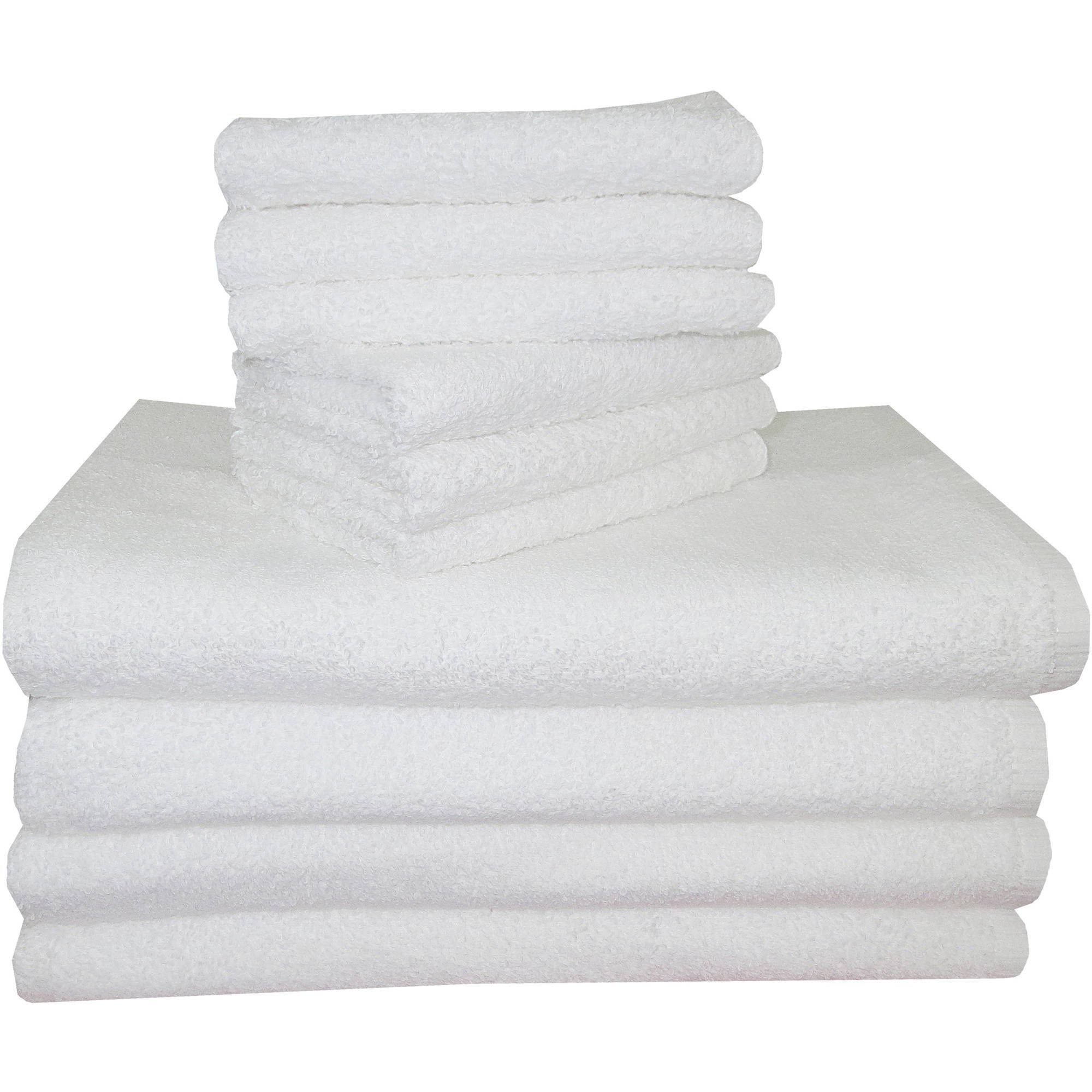 Mainstays 10pc Towel Set with 4 Bath Towels and 6 Wash Cloths