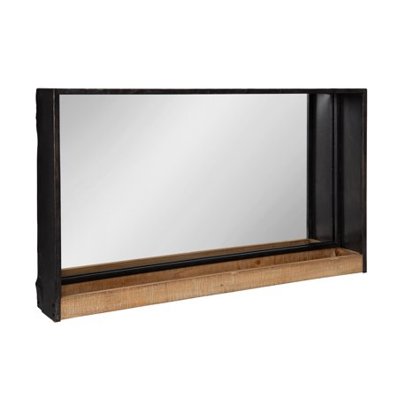 Kate and Laurel Mehta Casual Modern Farmhouse Metal Frame Mirror with Wood Shelf, Rustic Brown ()