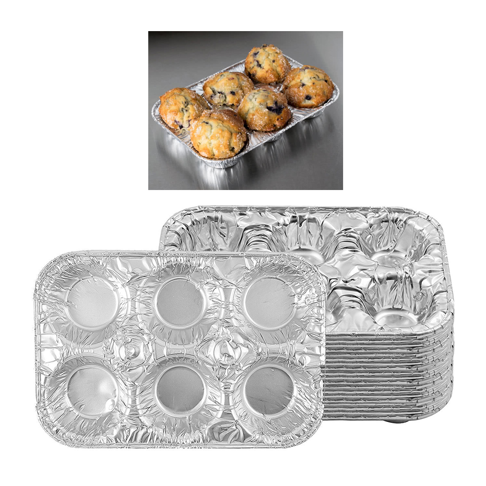 10 Pc Aluminum Foil Muffin Pan 6 Cavity Cake Mold Cupcake Disposable Container by JMK IIT