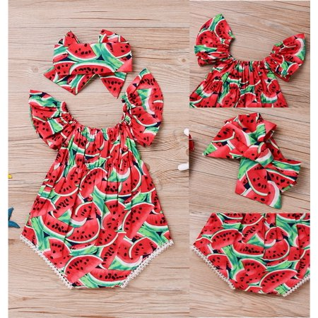 - Adorable Newborn Baby Girls Romper Watermelon Clothes Jumpsuit Bodysuit Outfits