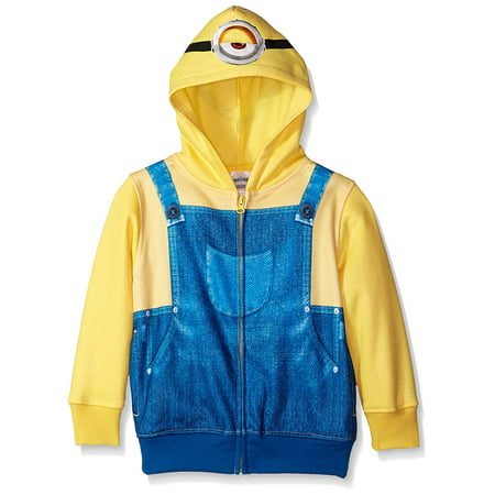 Despicable Me Stuart Minion Boys Yellow Zip Up Costume Hoodie Sweatshirt (Minion Hoodie)
