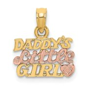 14k Two tone Gold Daddys Little Girl Two color Charm Pendant Necklace Jewelry Gifts for Women
