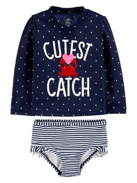 f88ed236ca4c1 Product Image Child of Mine by Carter's Long Sleeve Rashguard Swimsuit, 2pc  Set (Baby Girls)