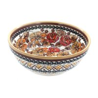Polish Pottery Autumn Rose Cereal/Soup Bowl