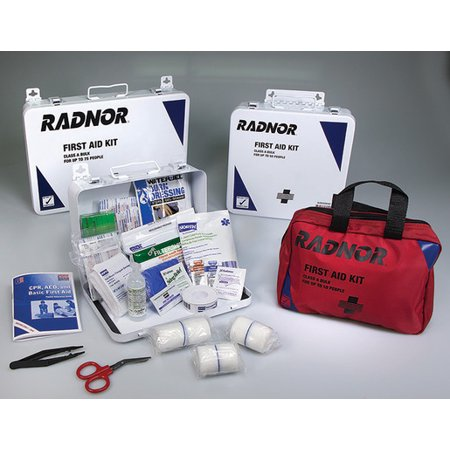 Radnor White And Black Metal Portable Or Wall Mounted 50 Person First Aid  Kit
