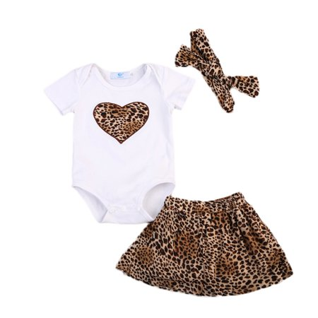 Newborn Toddler Baby Girls Clothes Leopard Romper Tops Dress Skirt Outfits Set