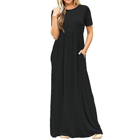 Ankle Length Dress - Women Solid Maxi Dresses Ankle-Length Fashion Short Sleeve Dress