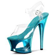 Bright Turquoise High Heels with Rhinestone Cutout Platform and 7 Inch Stiletto