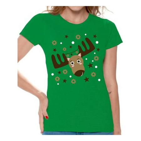 67935376b Awkward Styles Ugly Christmas Deer Tshirt for Women Funny Christmas Shirts  Reindeer Ugly Christmas T Shirt Holiday Outfit Christmas Party Tshirt Xmas  ...