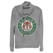 Junior's Stranger Things Hawkins High School Tiger Mascot  Cowl Neck Sweatshirt