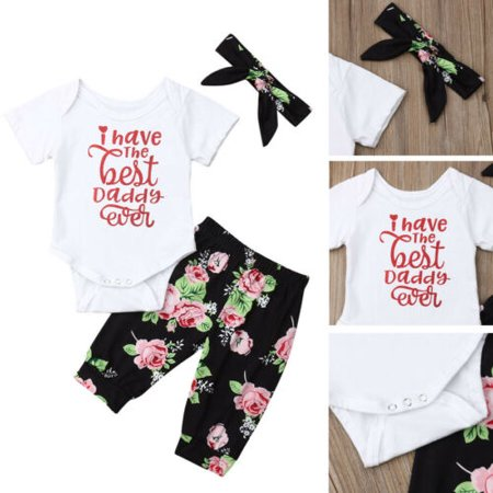 Best Outfits For Girls (Newborn Baby Girl Best Dad Romper Top +Floral Pants Headband Outfits Clothes)