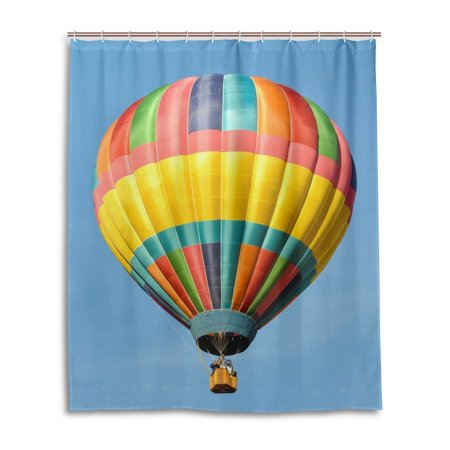 Popcreation Bathroom Colorful Hot Air Balloon Shower Curtain Mildew Resistant Home Decor Blue Sky Curtains And Hooks For 60x72 Inches