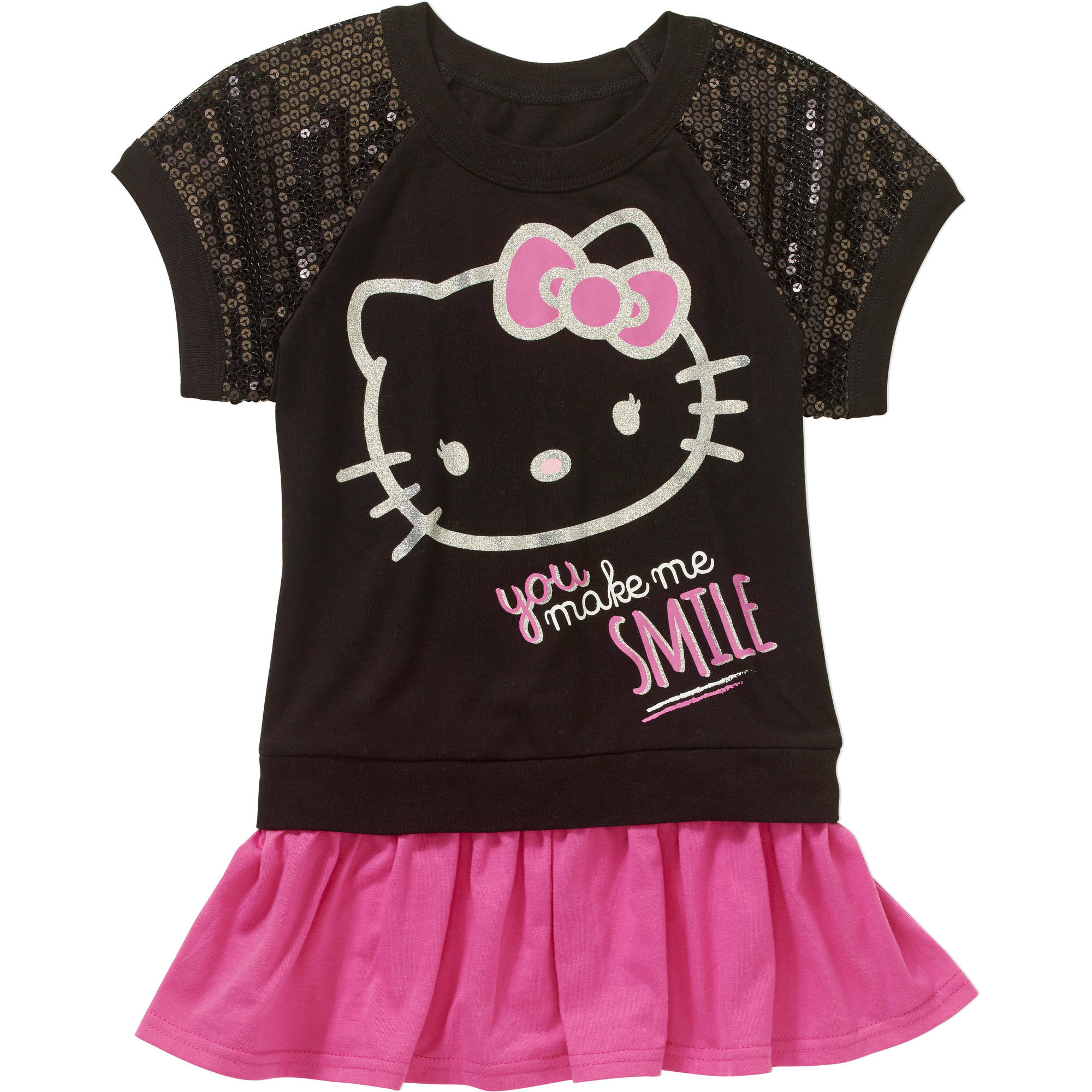 Hello Kitty Girls' Short Sleeve  Peplum Top
