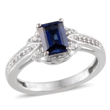 Created Blue and White Sapphire Sterling Silver Pretty Gift Ring For Women 1.3 Cttw Size 7 - Cheap Pretty Rings