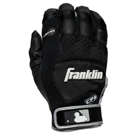 Franklin Sports X-Vent Pro Batting Gloves Black/Black Adult Medium