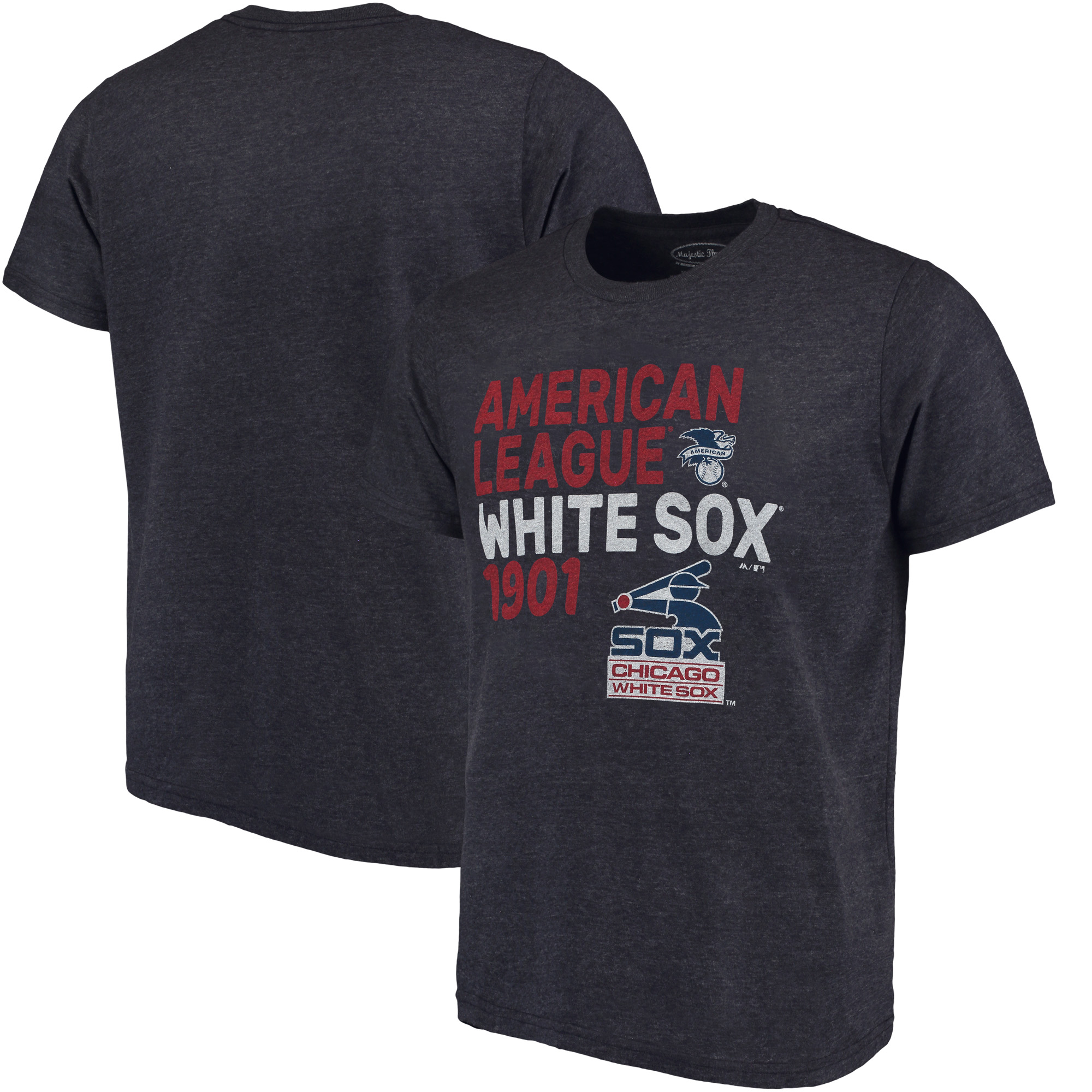 Chicago White Sox Majestic Threads Throwback Cooperstown Collection Tri-Blend T-Shirt - Navy