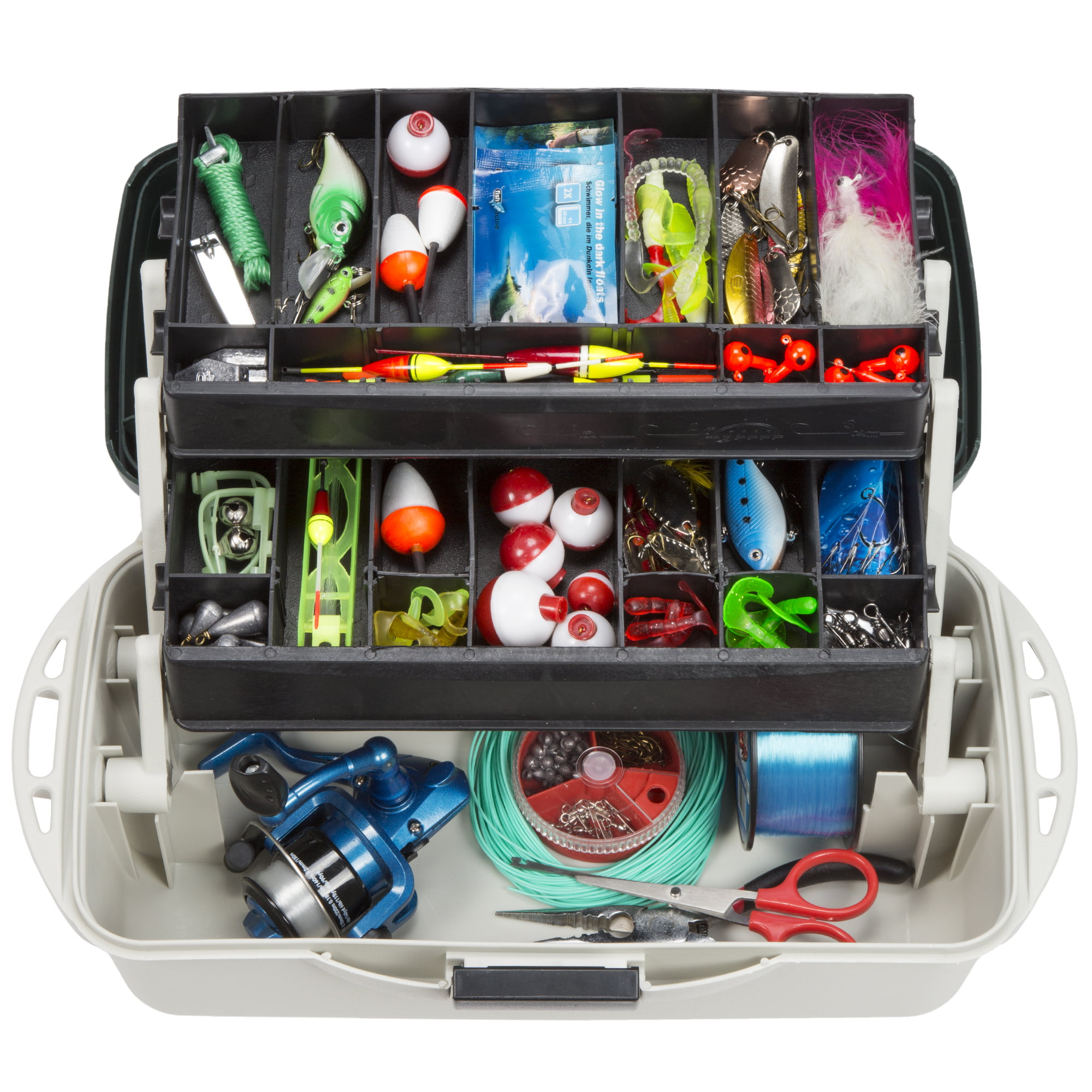 2-Tray Fishing Tackle Box Craft Tool Chest and Art Supply Organizer � 14 Inch by Wakeman Outdoors by Trademark Global LLC