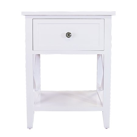 DL furniture - Nightstand | Storage - 2 Tier Curving Sides Night Stand Storage Bedside Table with 1 Drawer - Multi Function Shelf Modern Fashion Design | White ()