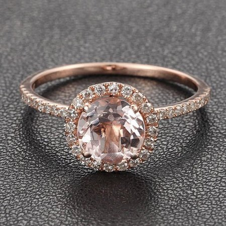 - Antique 1.25 carat Morganite and Diamond Halo Engagement Ring in 10k Rose Gold for Women
