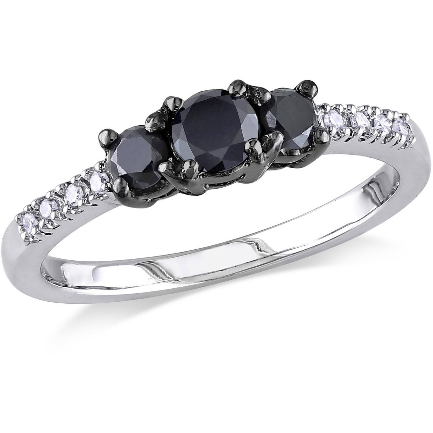 1/2 Carat T.W. Black and White Diamond Sterling Silver Three Stone Ring