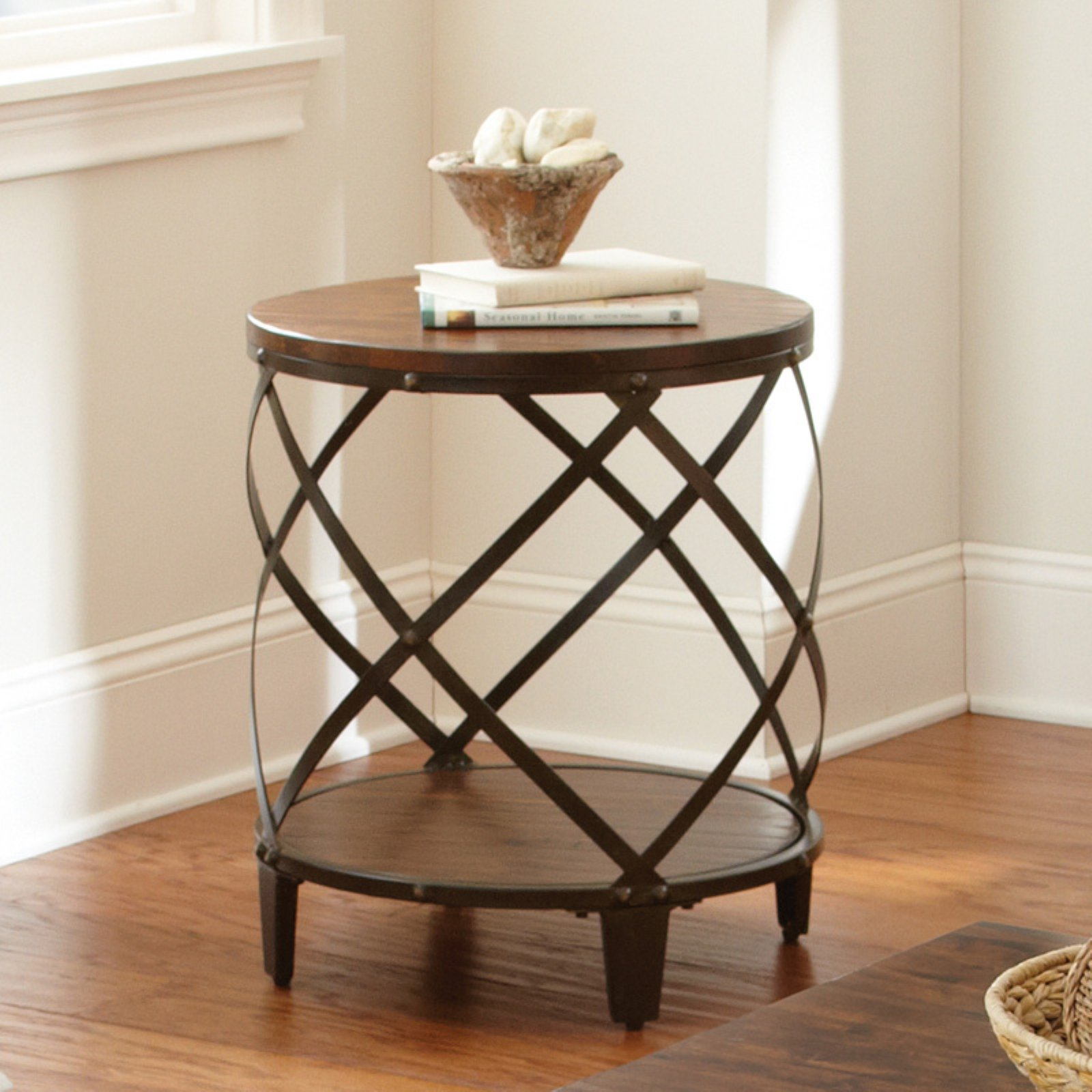 Steve Silver Winston Round Distressed Tobacco Wood And Metal End Table