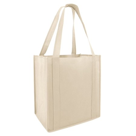 (Set of 25) Heavy Duty Grocery Shopping Tote Bag w/ Strong Reinforced Handles (NATURAL)