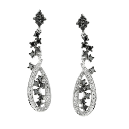 14K White Gold 0.73ct Fashion Fondness Black & White Diamond Dangle Earrings