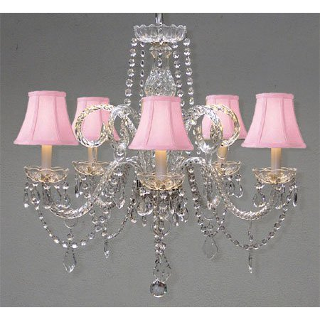 Crystal Chandelier Lighting With Pink Shades H 25