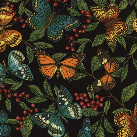 Garden Material - Timeless Treasures Garden Journal Black Butterflies & Leaves