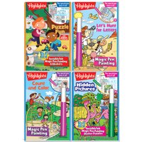 Highlights Magic Pen Painting Activity Books Includes 4 Books: Highlights Hidden Pictures, Fun Puzzle, Let's Hunt for Letters, Count and Color Invisible Ink Magic Pen Painting Books