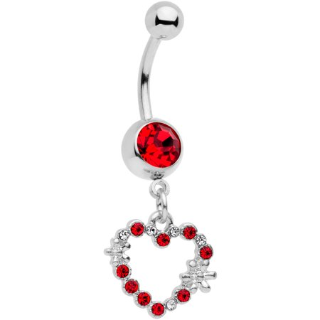 Red Belly Button Navel Ring (Body Candy 316L Stainless Steel Navel Ring Piercing Red Accent Valentine Heart Dangle Belly Button Ring)