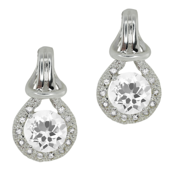 3.20 Ct Round White Cubic Zirconia White Sapphire Sterling Silver  Earrings