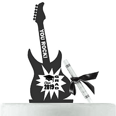 Class of 2019 Graduation Guitar Cake Decoration Cake Topper with Diploma - Guitar Decorations