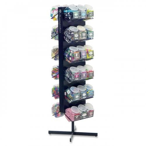 "Baumgartens Double-sided 36-tub Display Rack 36 x Jar 24"" Width x 24"" Depth Floor Black Steel 1Each by BAUMGARTENS"