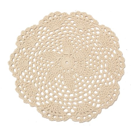 Meigar 12 Pack 8-inch Round Handmade Cotton Crochet Doilies,Ecru Round Crocheted Lace Cloth Fabric Doilies Placemats Table Mat Doily ,Value Pack Martha Stewart Doily Lace