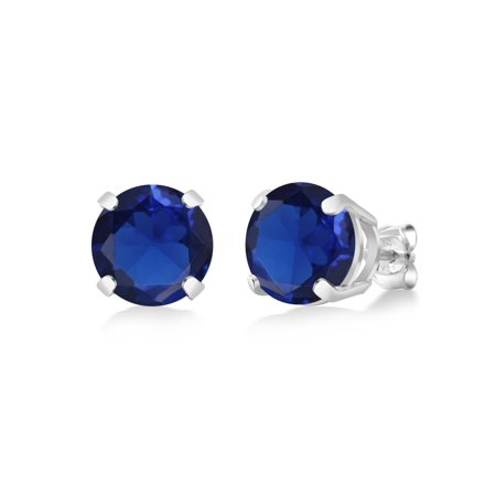 5.00 Ct Round 8mm Blue Simulated Sapphire 925 Sterling Silver Stud Earrings