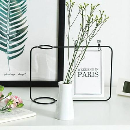 Mgaxyff Ceramic Flower Plant Pot Vase Postcard Photo Holder Display Iron Frame Bracket with Clip, Iron Vase Photo Holder,Iron Vase Photo Frame ()